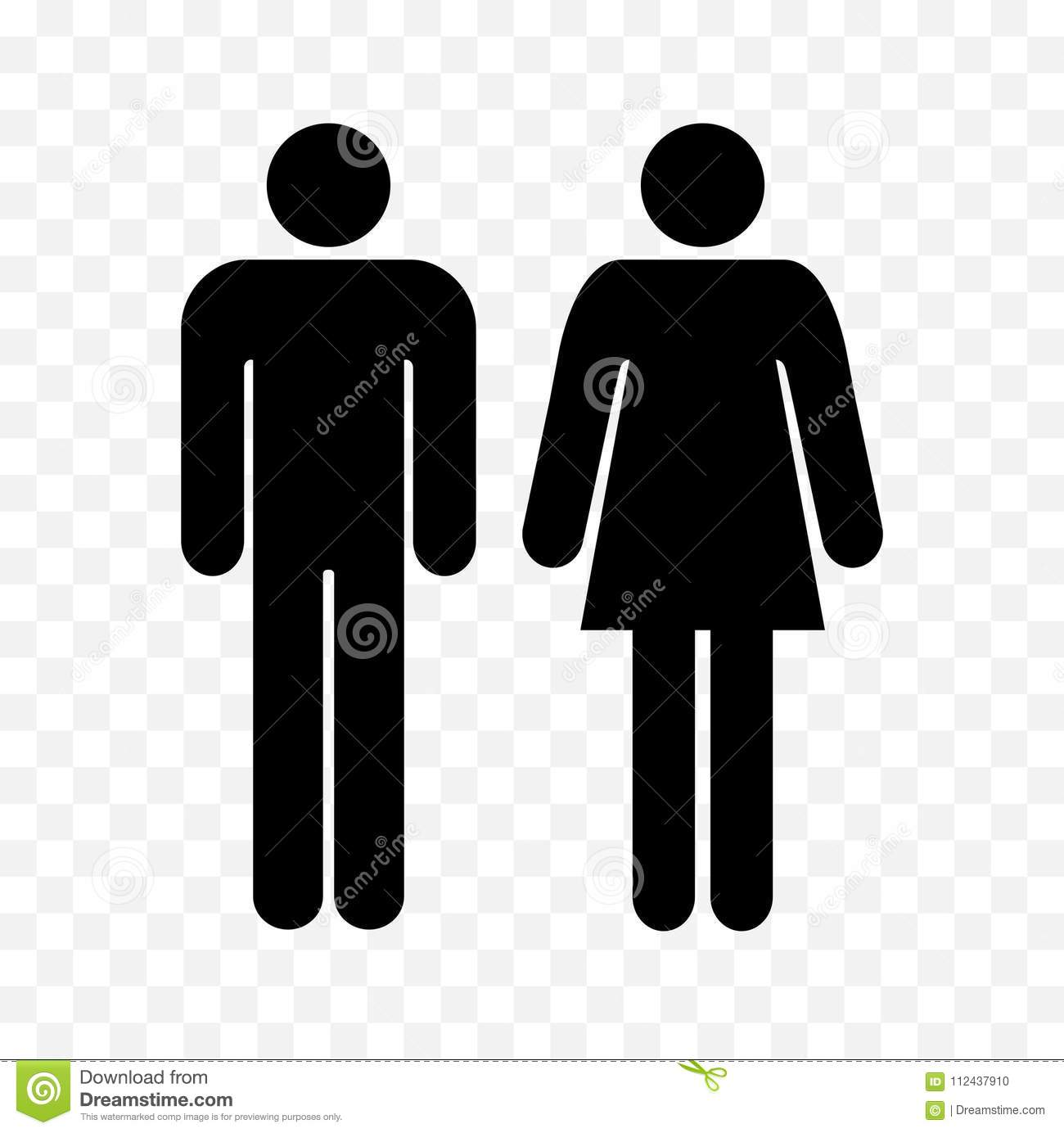 Wc symbols restroom men and women signs toilet symbols ladies and gentlemen icons man and woman black silhouettes