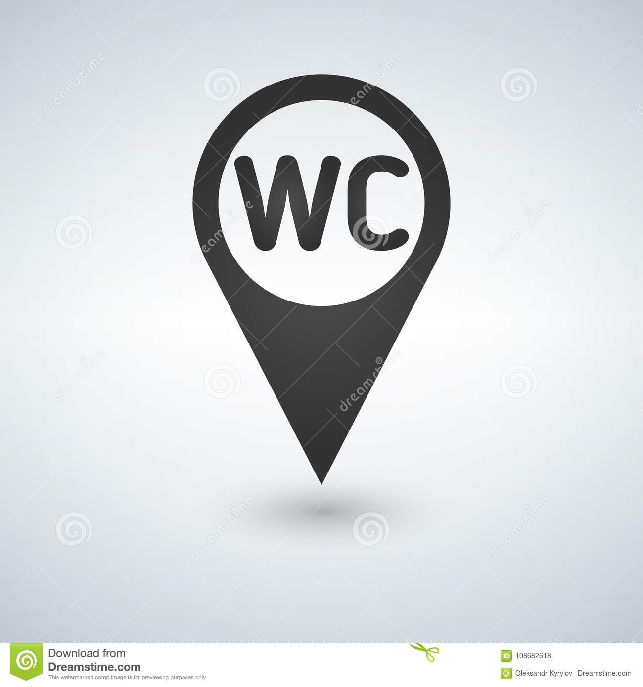 WC Toilet Location Icon , Filled Flat Sign, Solid Pictogram Isolated ...
