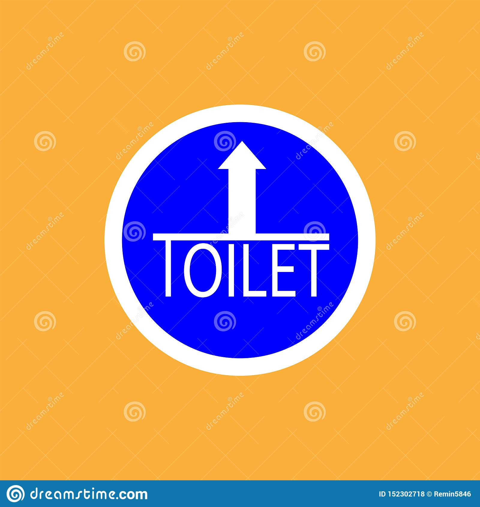 WCtoilet round icon with arrow, white thin line on blue background - vector illustration