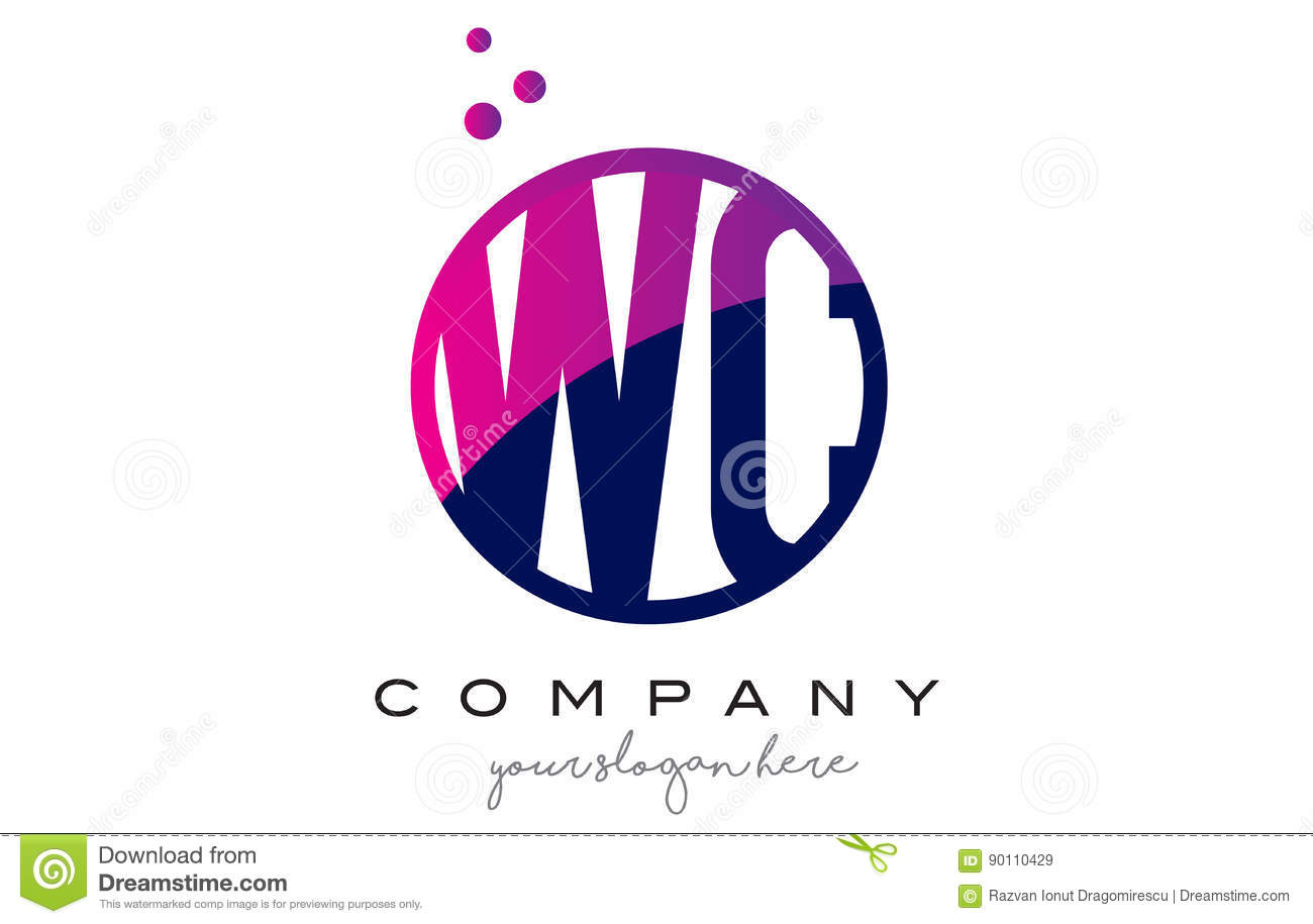 Wc w c circle letter logo design with purple dots bubbles stock wc w c circle letter logo design with purple dots bubbles biocorpaavc Images