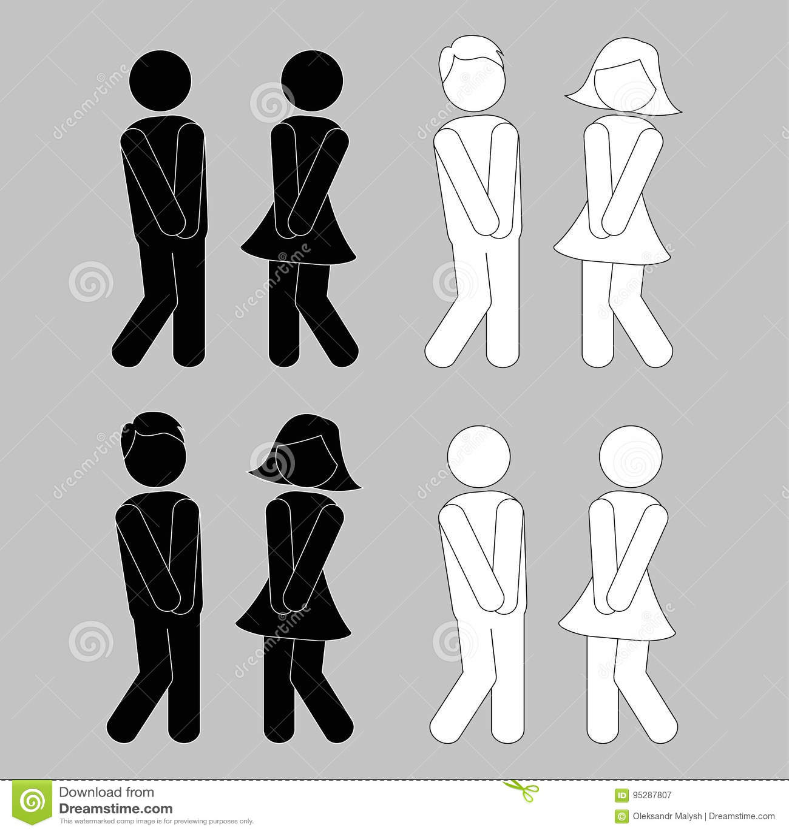 WC znak Chłopiec i dziewczyny toalety ikony