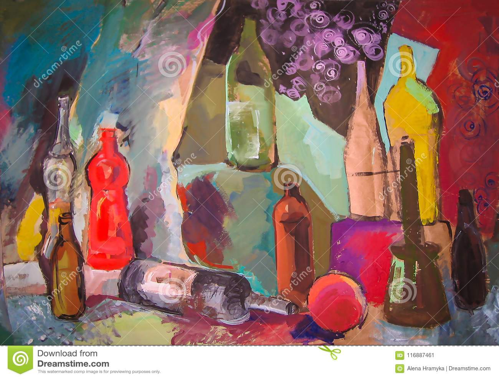 Wciąż życie obrazu rysunek stylizowane butelki i inny protestuje