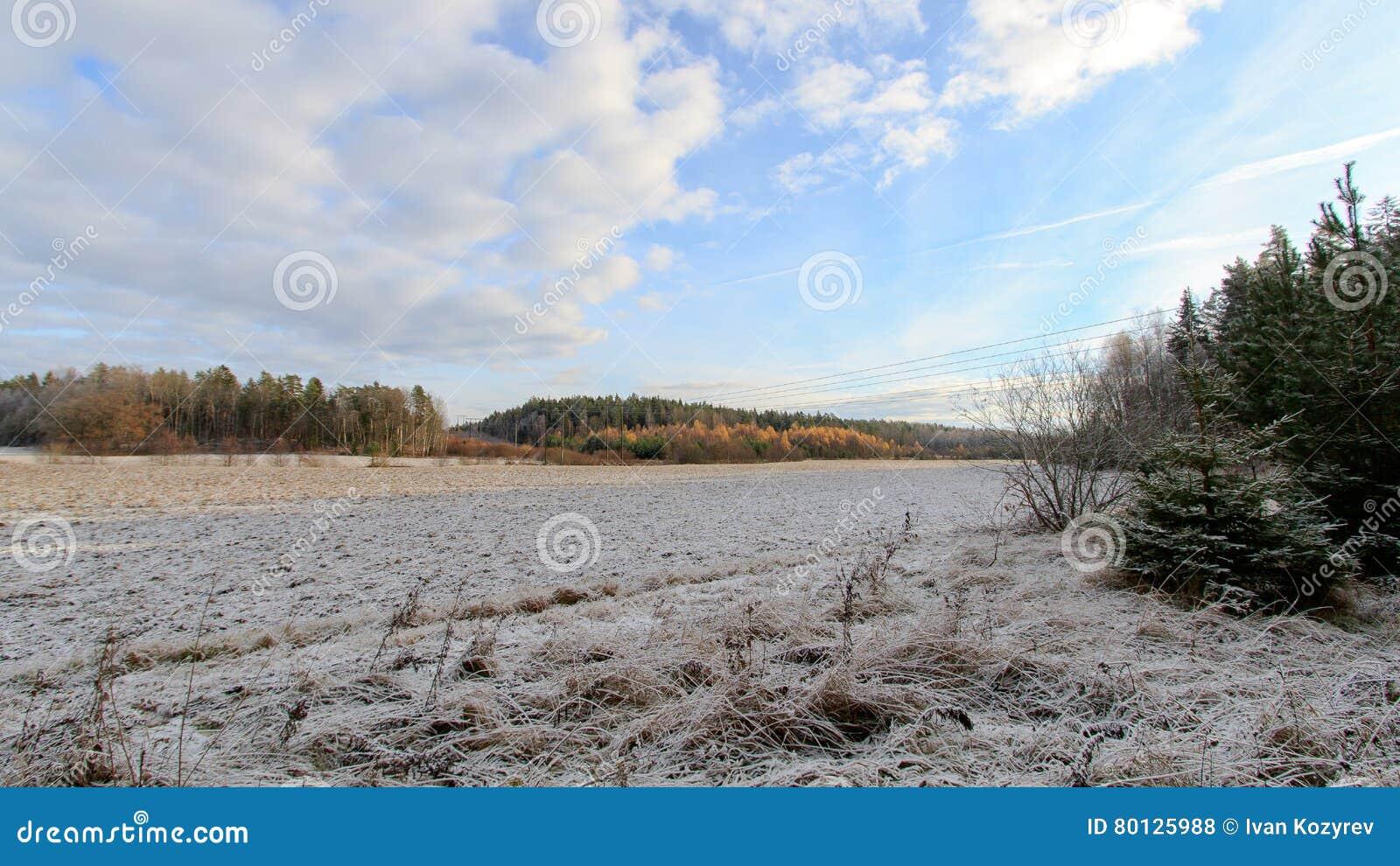 Wczesny zima krajobraz w Szwecja