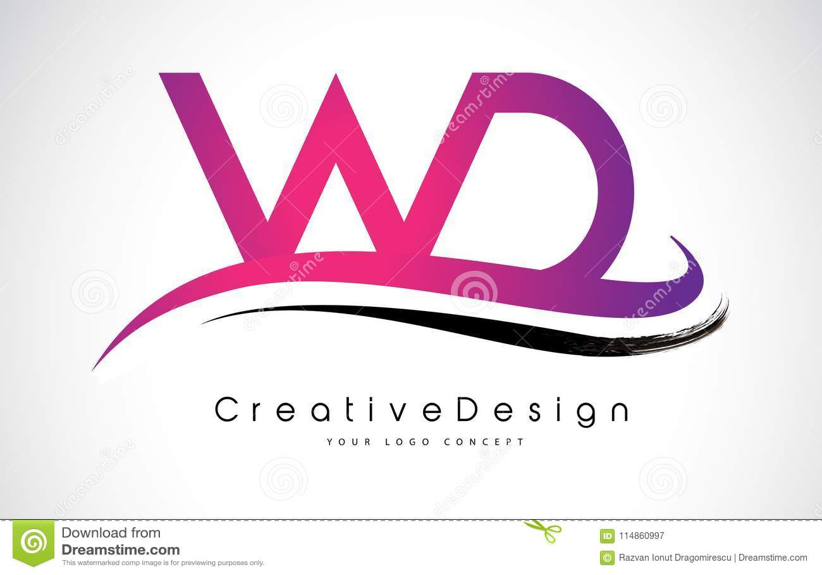 WD W D Letter Logo Design. Creative Icon Modern Letters Vector L ...
