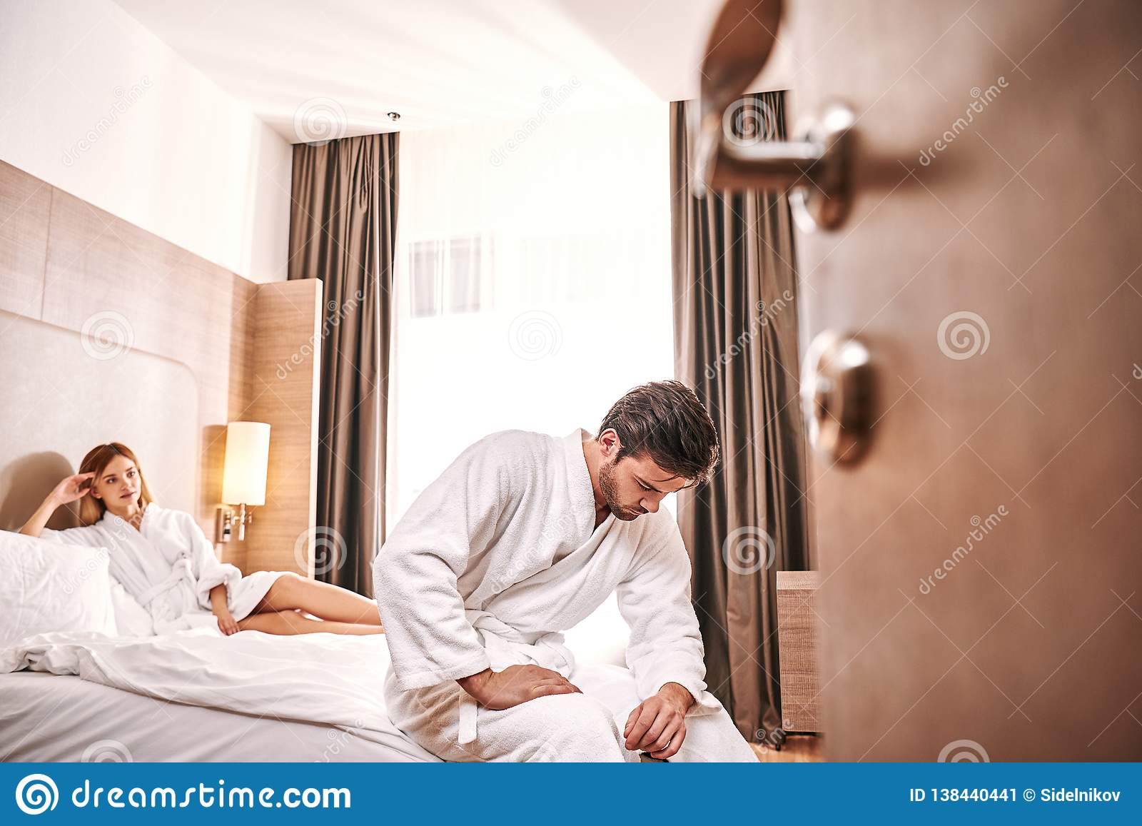 Weakness Worried Man In Hotel Room. Man Can`t Make Sex With His ...