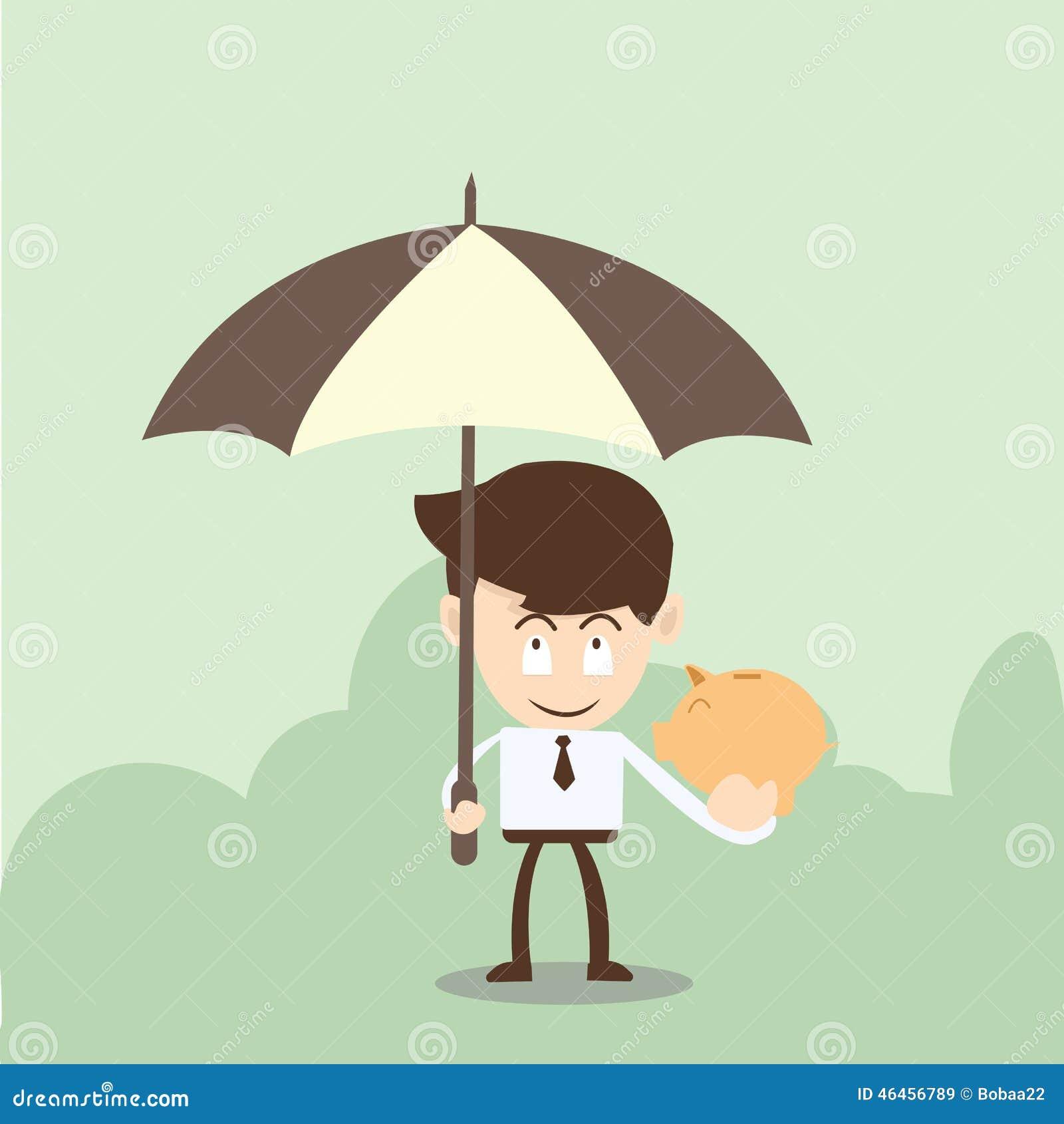 Wealth protection concept,businessman Piggy with a umbrella