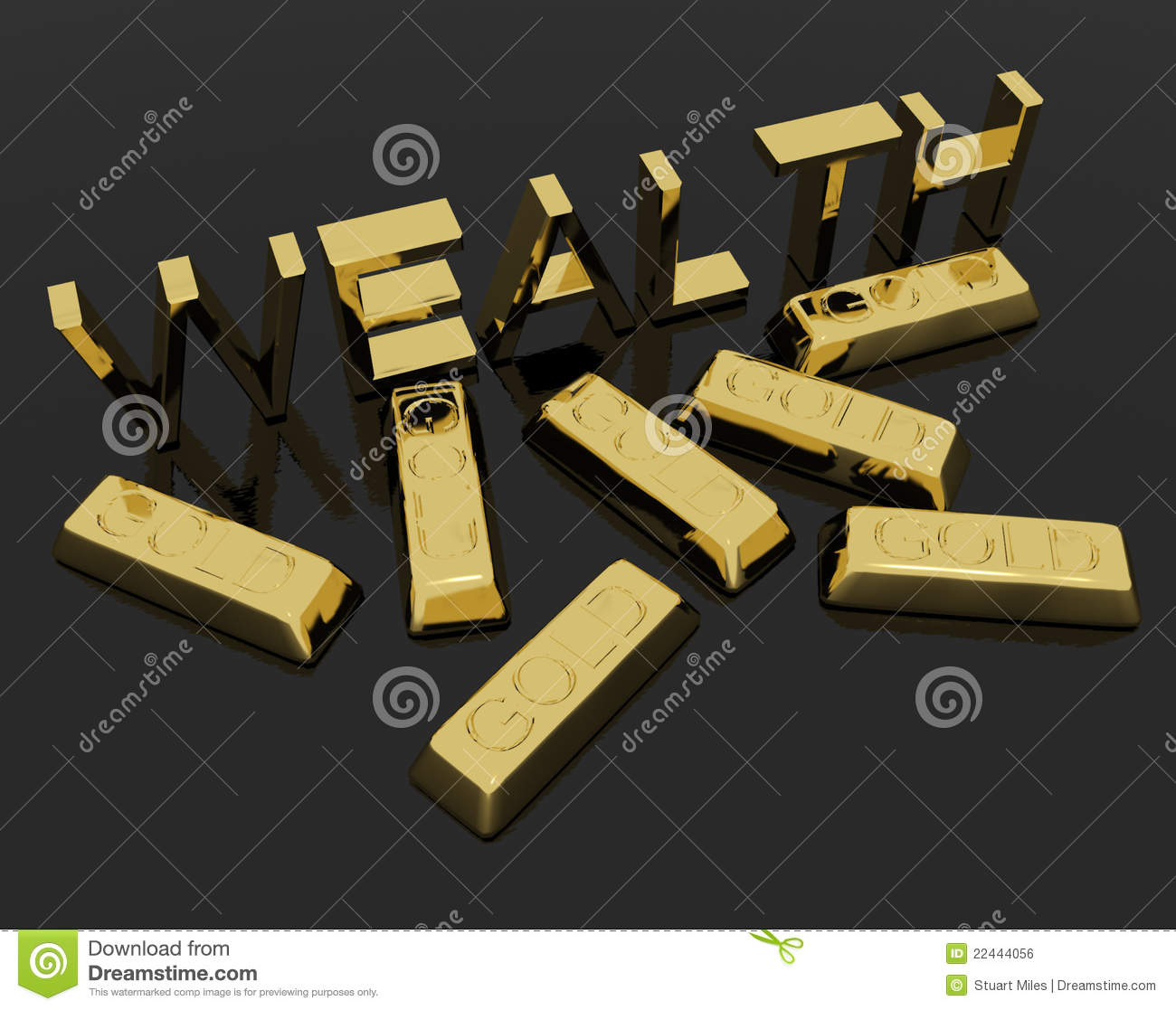 Wealth text and gold bars as symbol of riches stock photo image royalty free stock photo buycottarizona Image collections