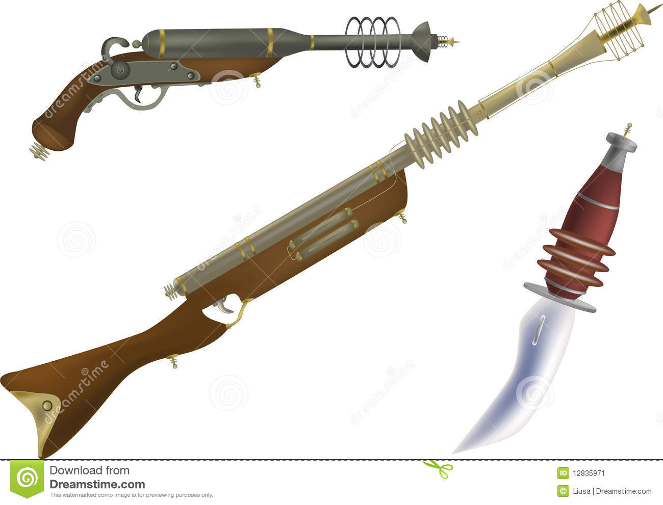 Fantastic fire and other weapon of the future and from films.