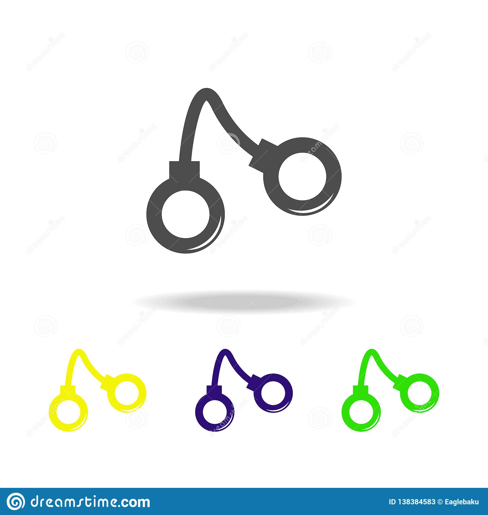 Weapon, Handcuffs Colored Icons  Element Of Military Illustration