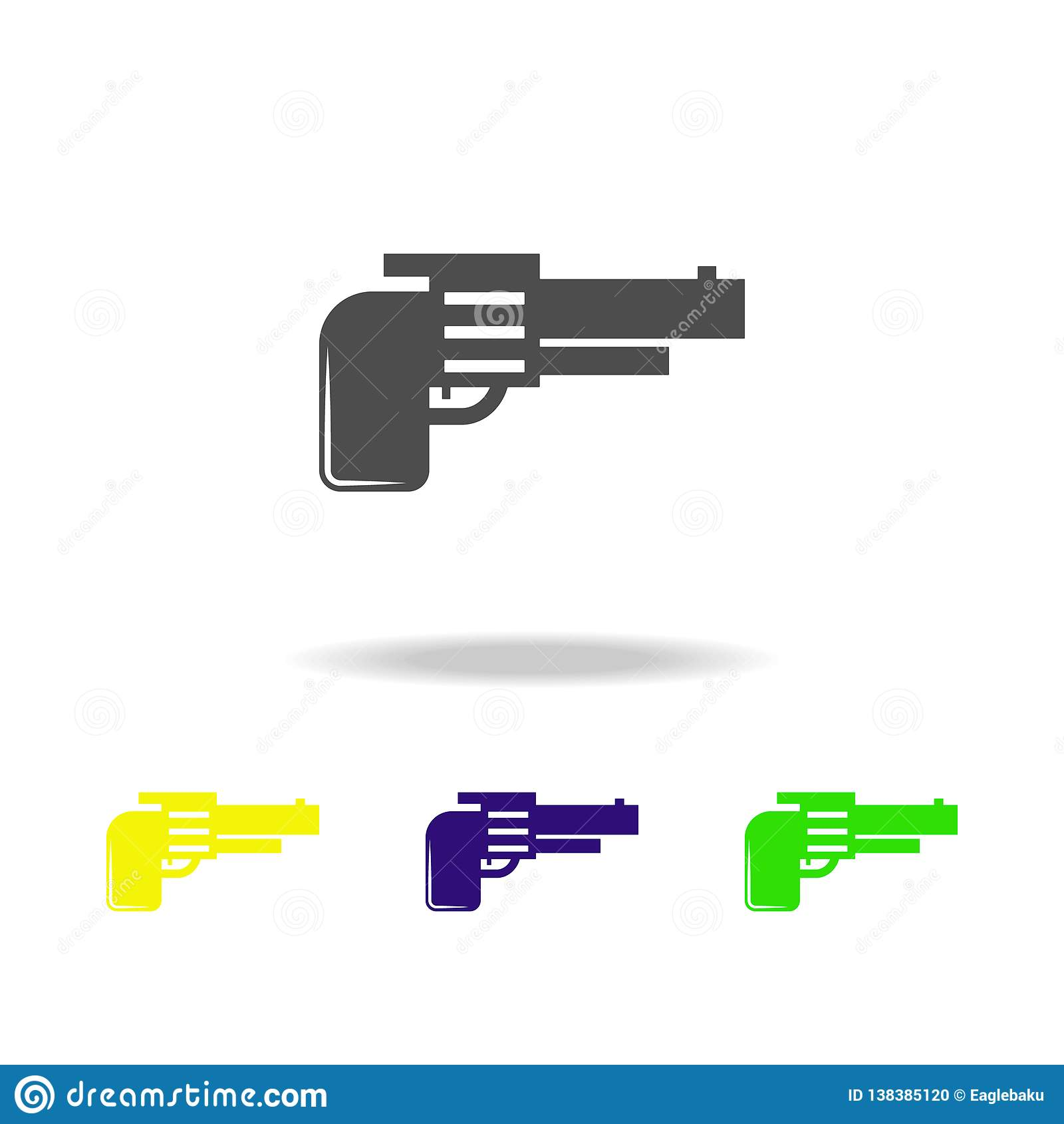 Weapon, Revolver Colored Icons  Element Of Military