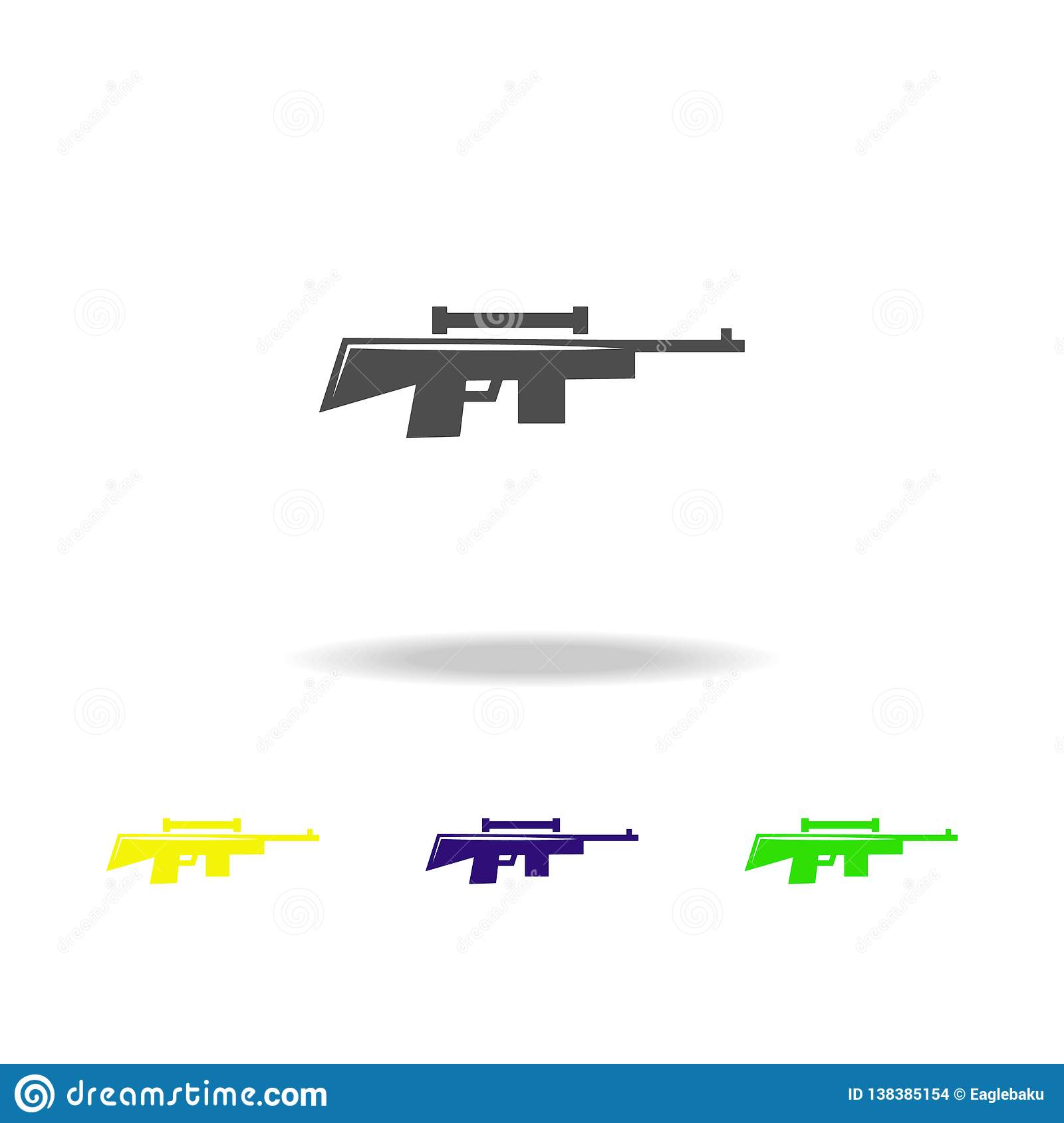 Weapon, Rifle Colored Icons  Element Of Military