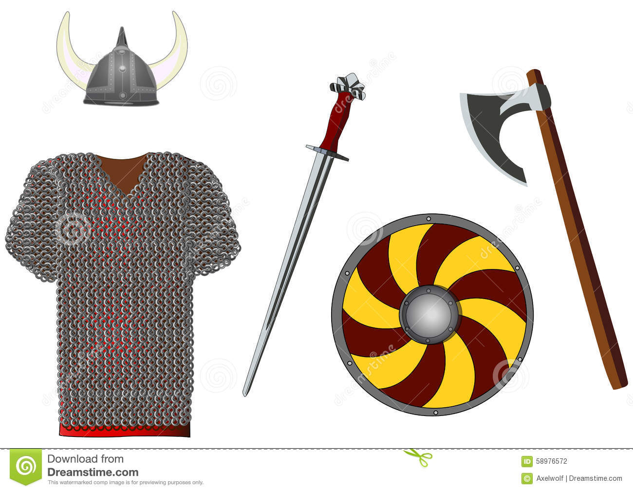 weapons and armors set of viking vector stock vector image 58976572. Black Bedroom Furniture Sets. Home Design Ideas