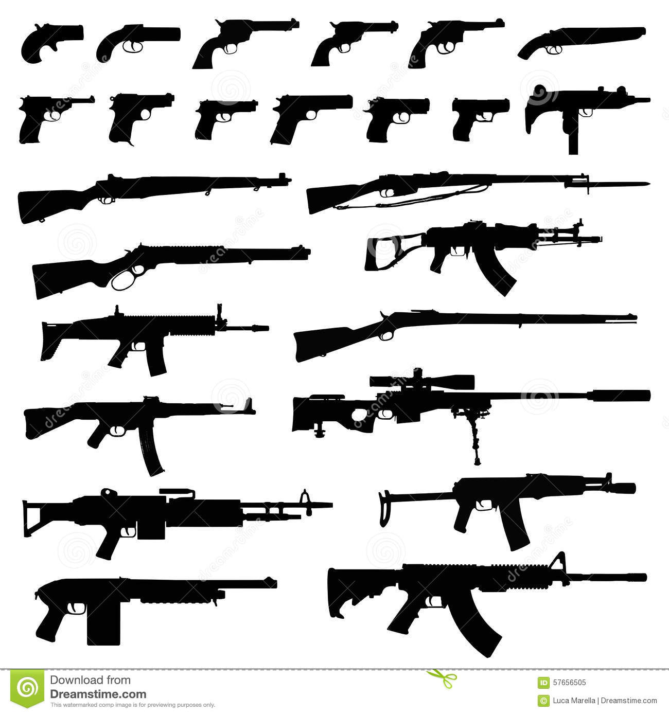 Cool Names For Your House Weapons Silhouettes Stock Vector Image 57656505