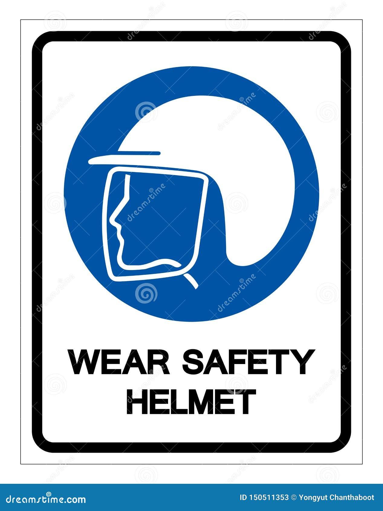 Wear Safety Helmet Symbol Sign,Vector Illustration
