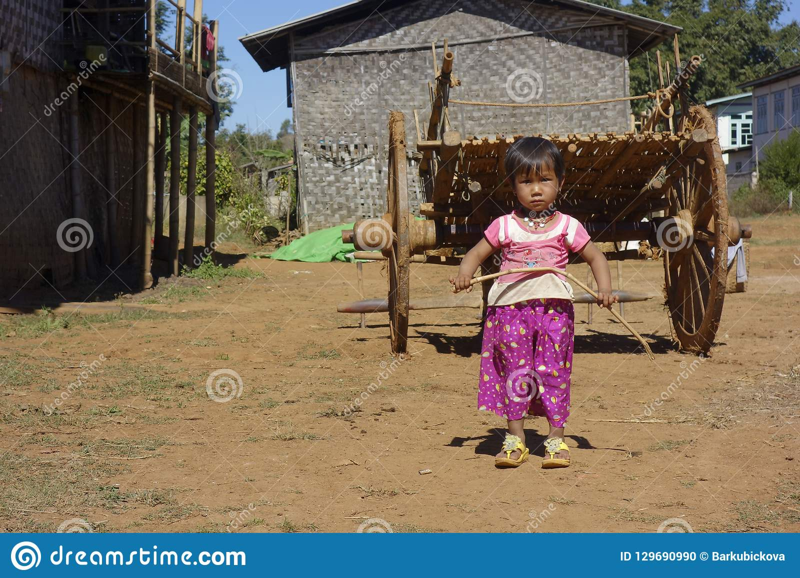 Near Kalaw, Shan state in Myanmar, 01-20-2018. Girl