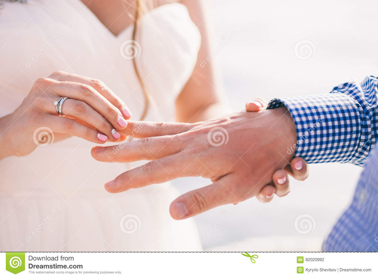 Wearing Wedding Ring Ceremony Stock Photo - Image of gold, dress ...