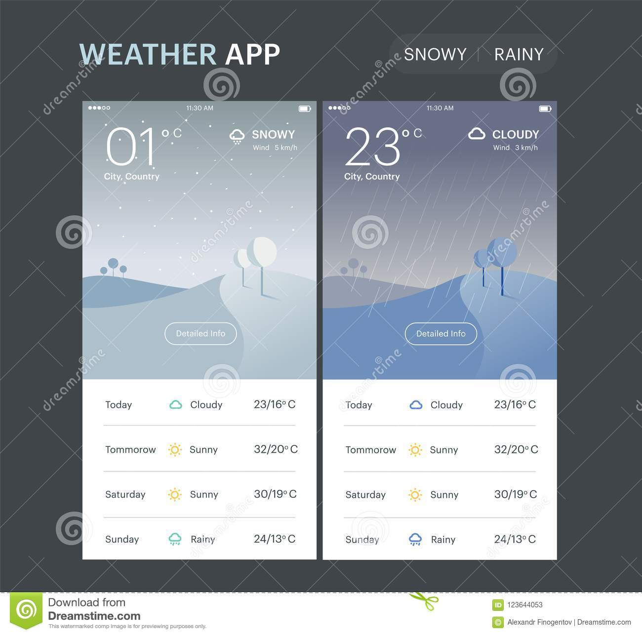 weather application template rainy and snowy screens ui ux app