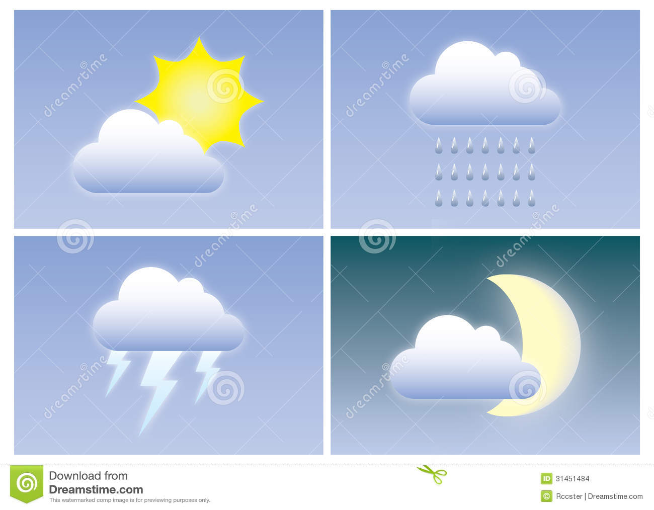 Different types of weather with clouds, sun, moon, lightning and rain ...