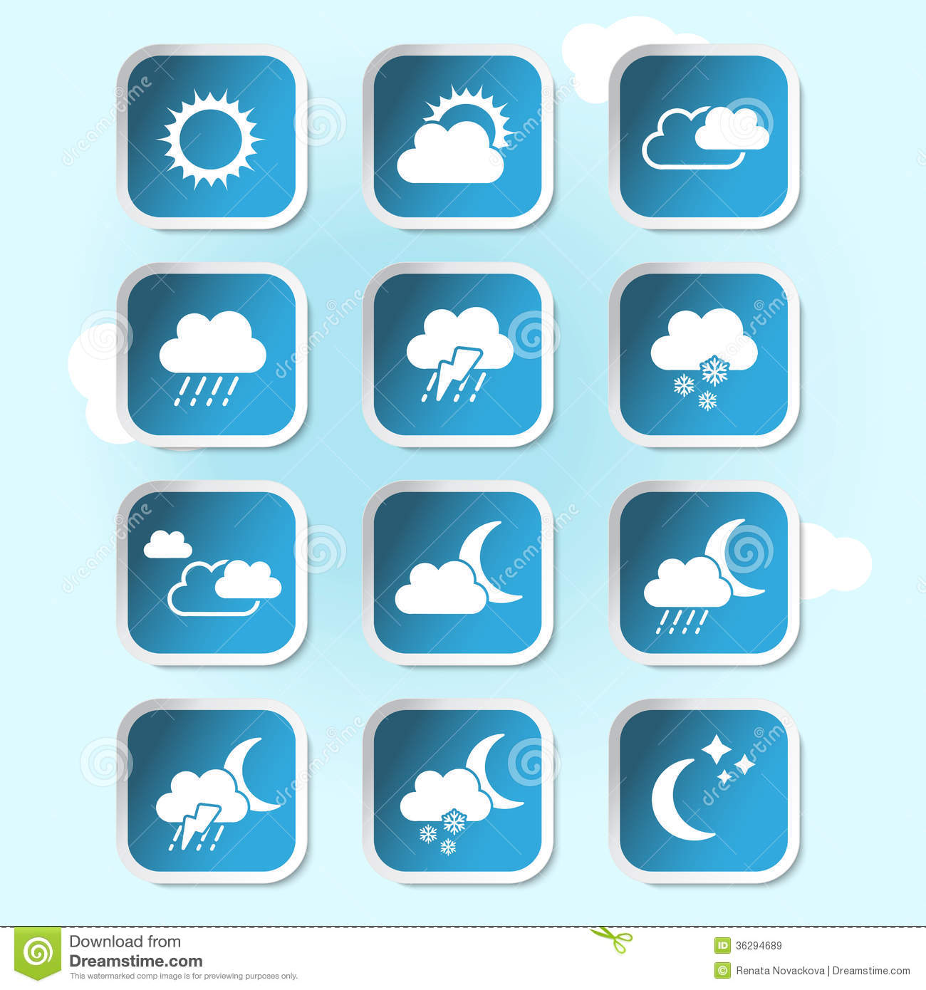 Weather Forecast Widget Banner And Symbols Stock Vector