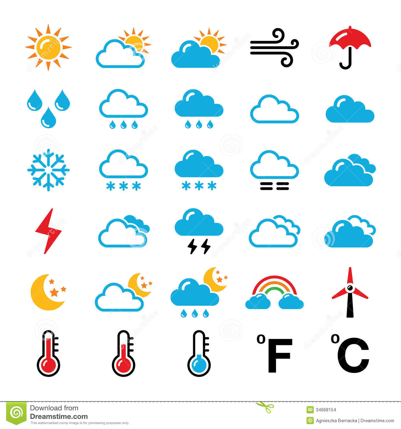 Weather Forecast Colorful Icons Set Stock Illustration