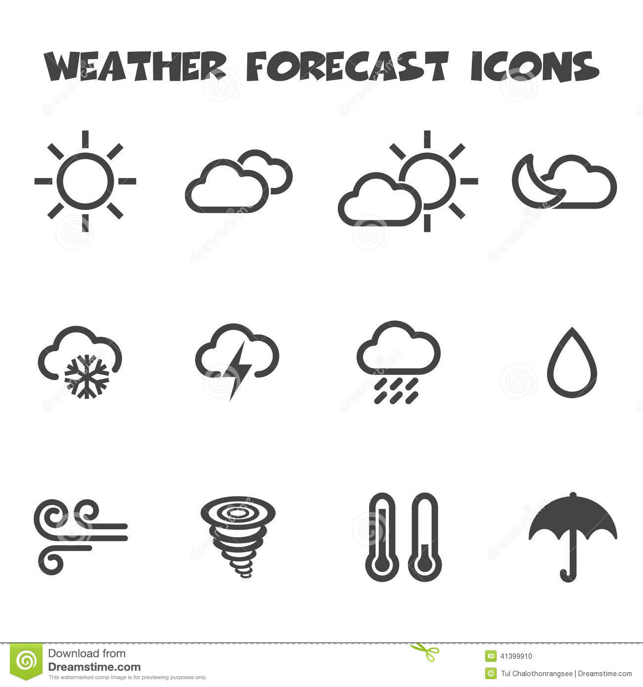Weather Forecast Icons Stock Vector Illustration Of Cold 41399910