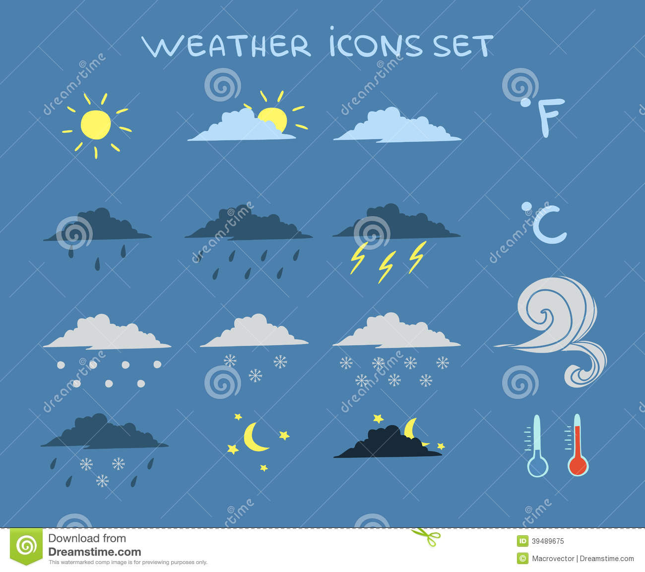 weather forecast icons set stock vector