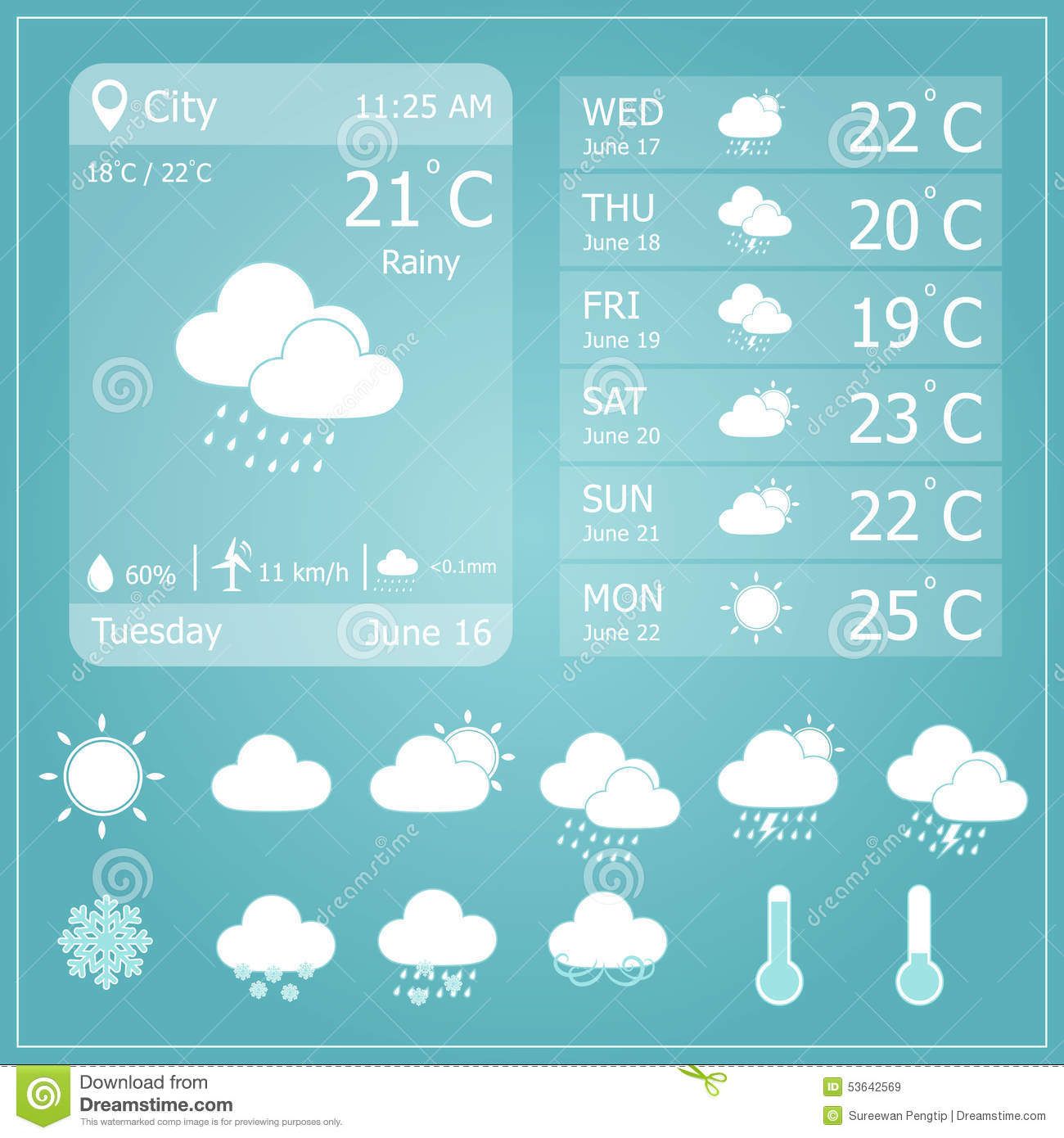 weather forecast interface template stock vector illustration of