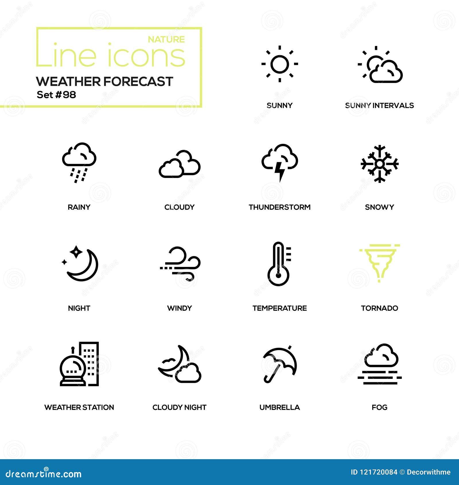 Weather Forecast Modern Line Design Icons Set Stock Vector