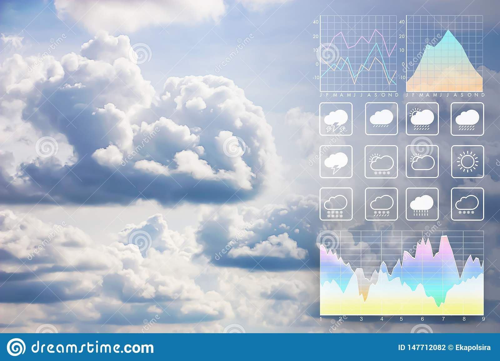 Weather Forecast Presentation Report Background With Beautiful Clouds Stock Photo Image Of Light Plane 147712082