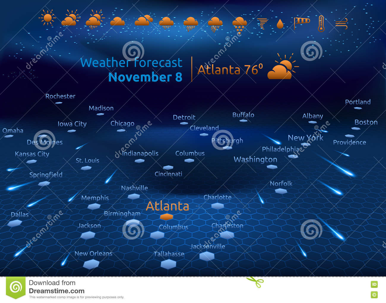 Weather Forecast, Set Of Icons Stock Vector - Illustration of