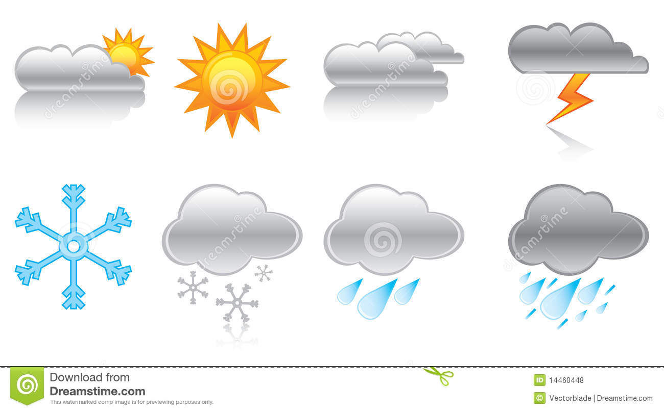 Weather Forecast Symbols Stock Vector Illustration Of Cloudy 14460448