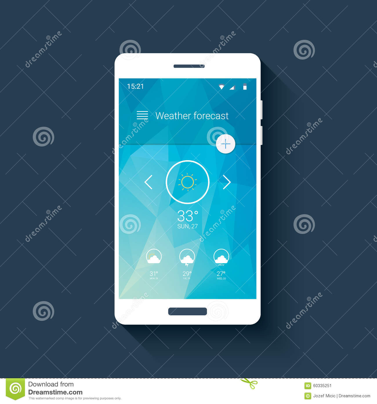 Weather Forecast Ui For Smartphone App  Mobile Stock Vector