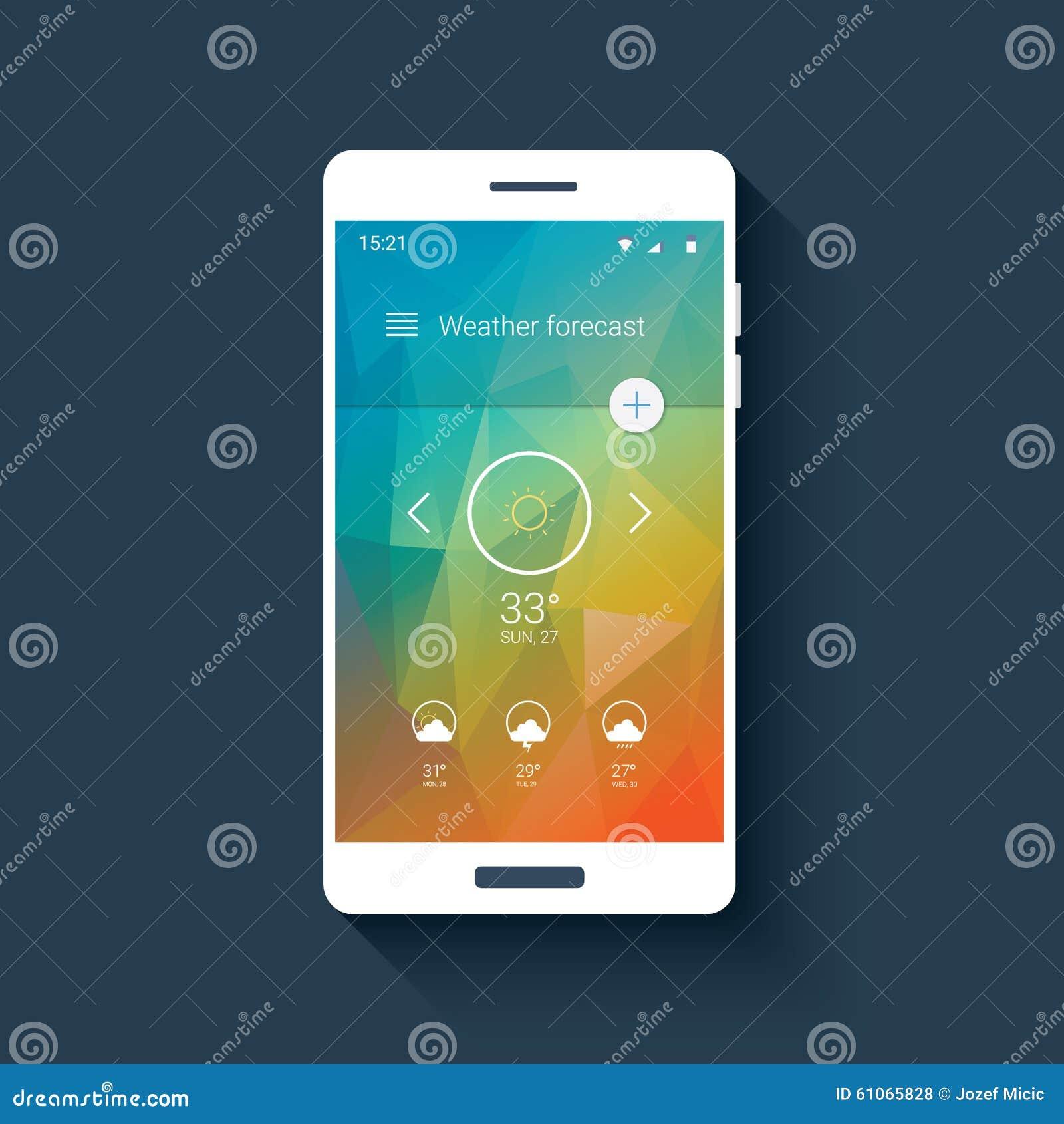 weather forecast ui for smartphone app mobile stock vector image 61065828. Black Bedroom Furniture Sets. Home Design Ideas