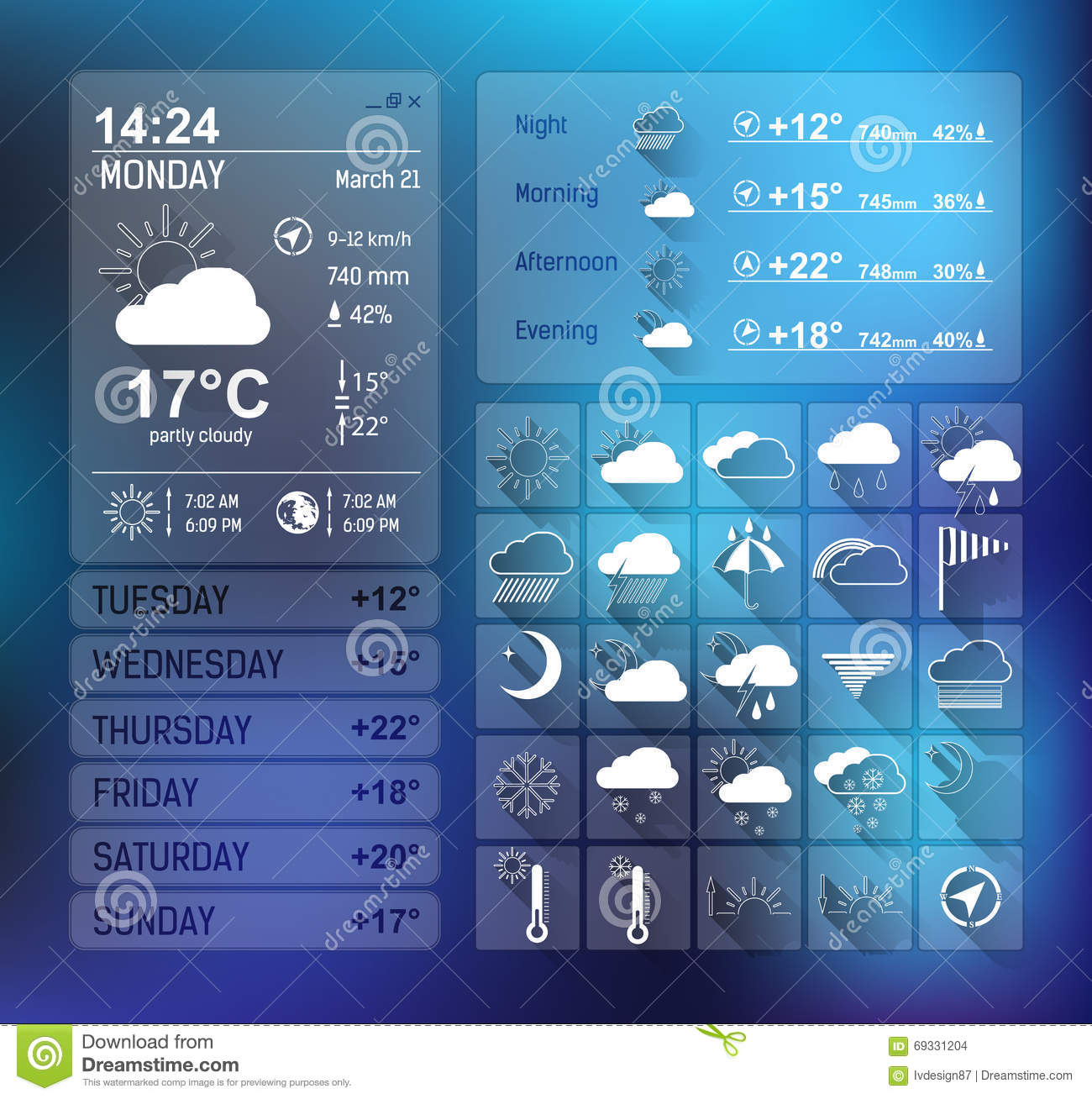 Weather Forecast Widget For Web And Mobile Design Stock Vector ...