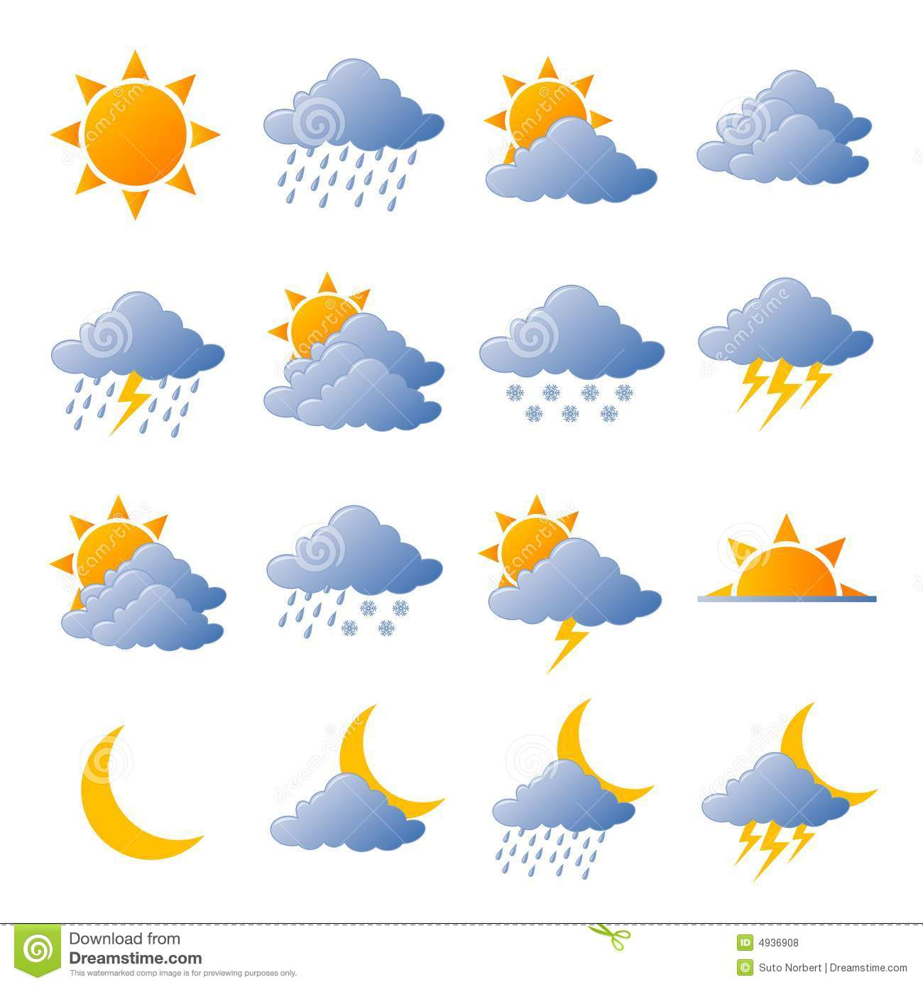 Weather Icons Royalty Free Stock Photos - Image: 4936908