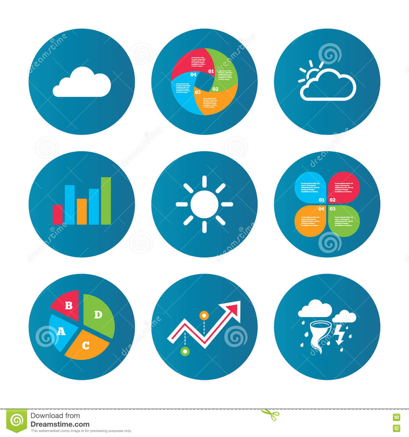 Weather Icons Cloud And Sun Storm Symbol Stock Vector