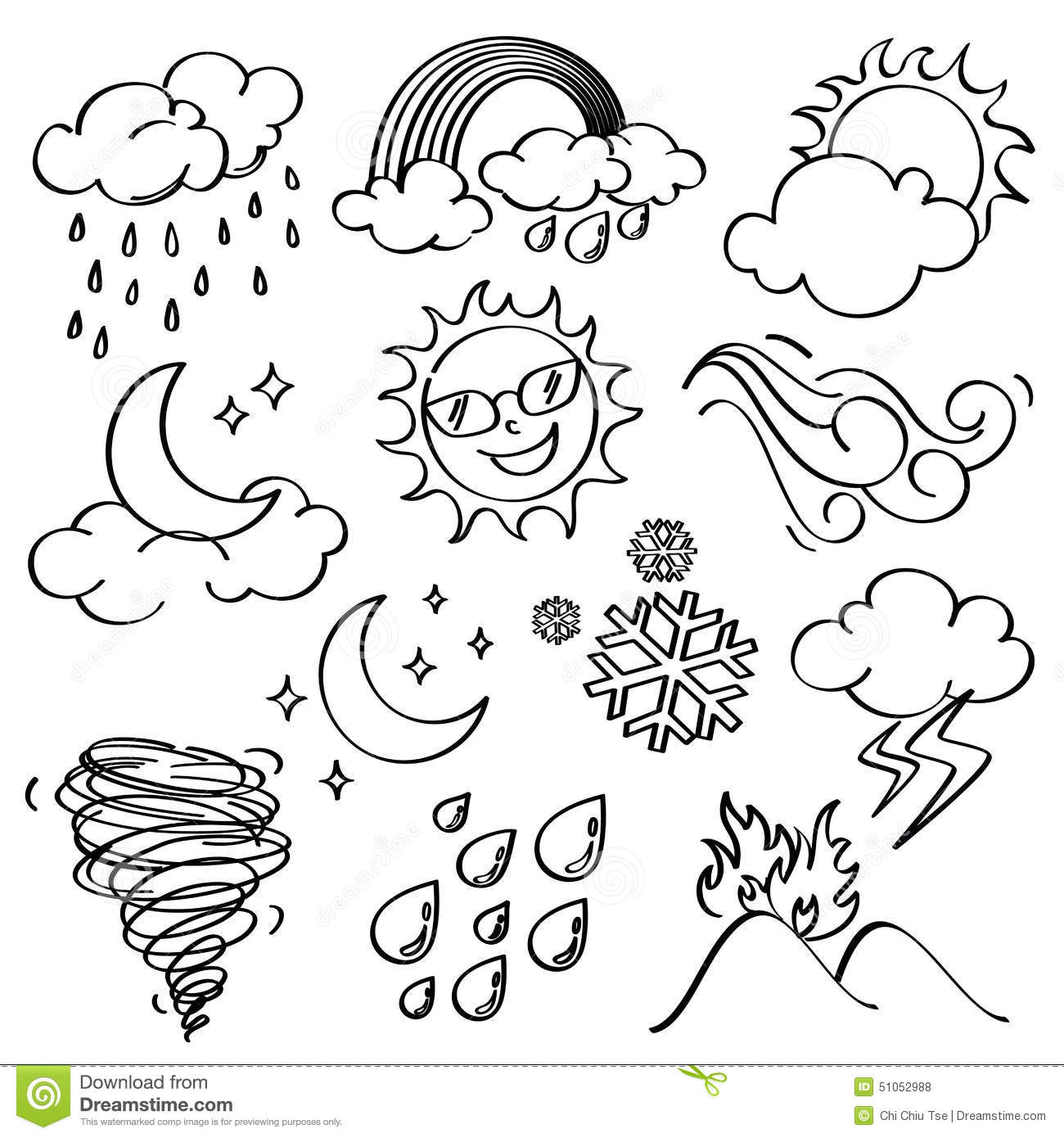 Line Art Styles : Weather icons collection stock illustration
