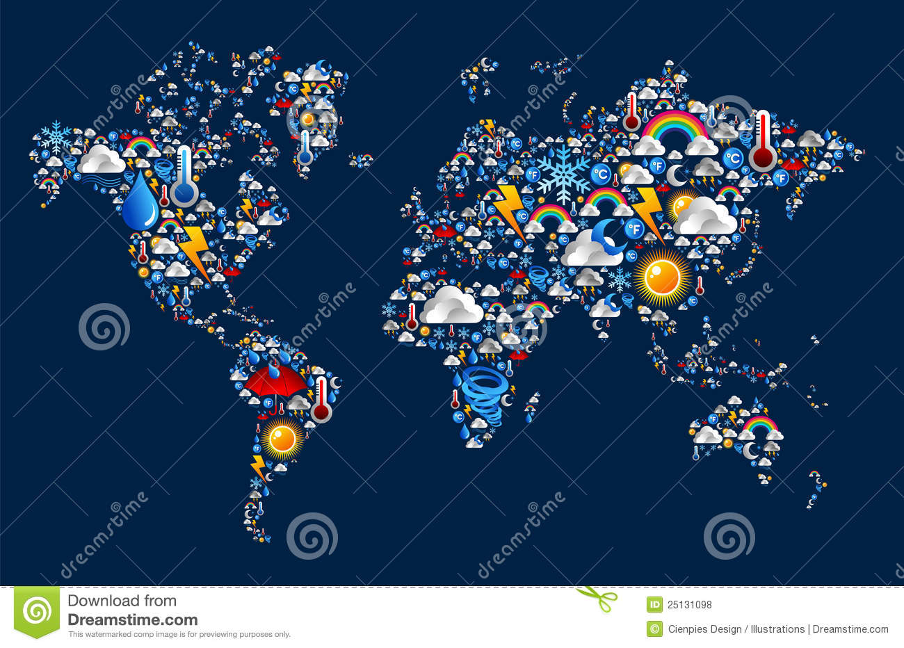 Weather Icons Set On Map World Shape Stock Vector   Illustration