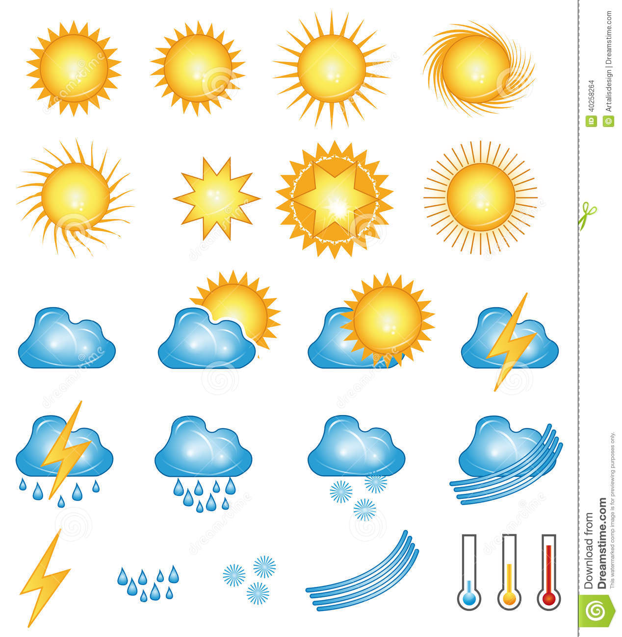 Sunny Weather Symbol : Weather icons stock vector image