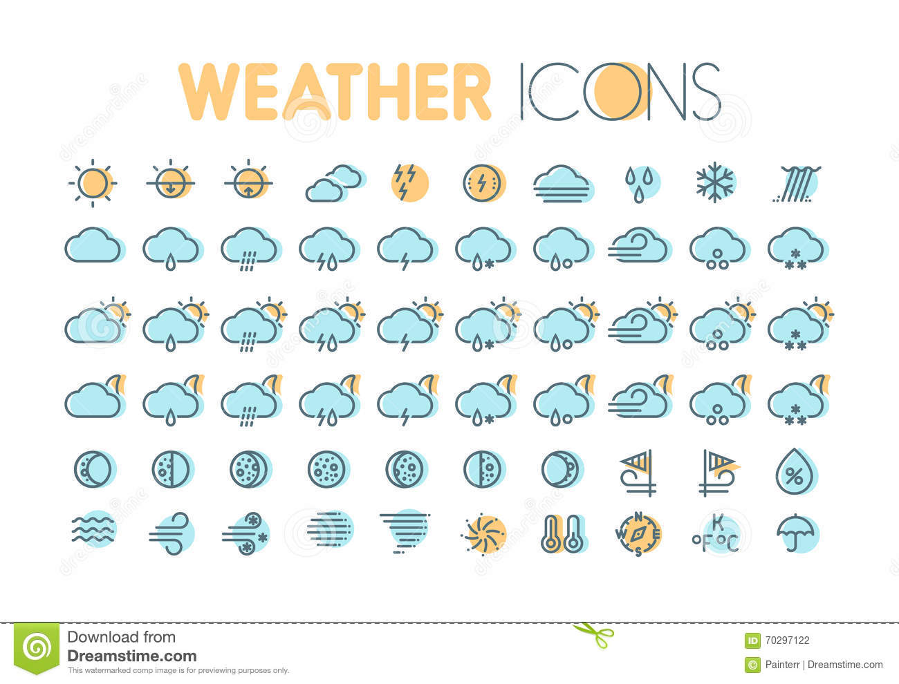 Weather Icons Weather Forecast Symbols And Elements Stock Vector