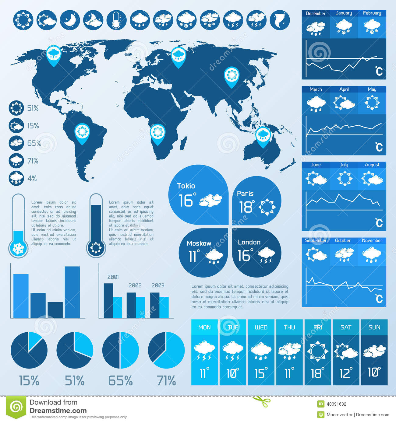 Weather Infographic Blue Stock Vector Image 40091632