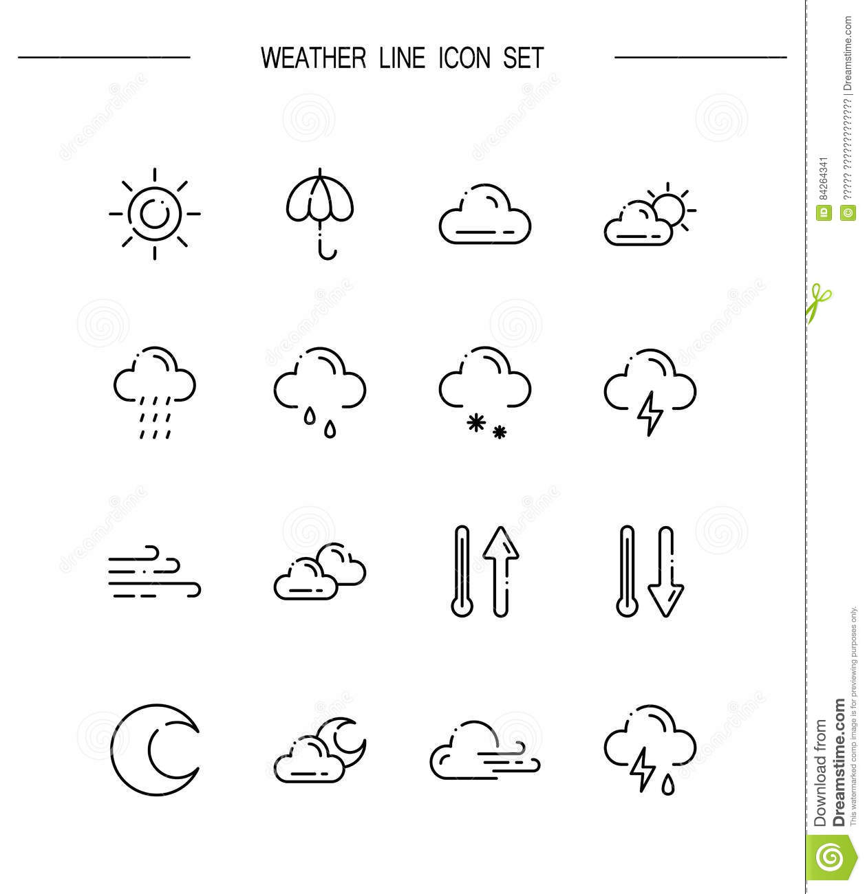 Weather line icon stock vector  Illustration of cloud - 84264341