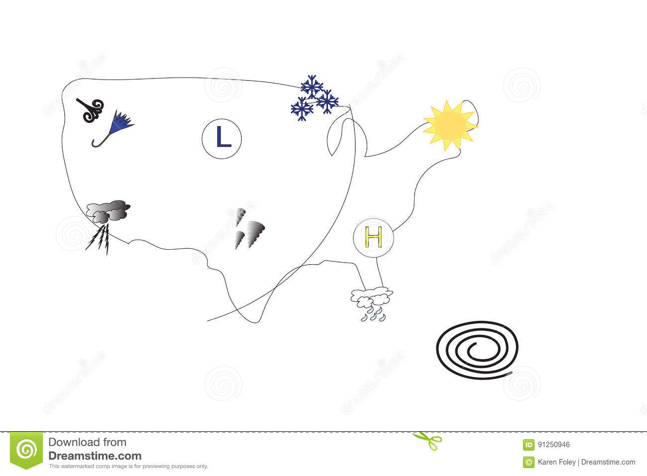 Weather Map Of United States Of America Stock Vector - Illustration ...