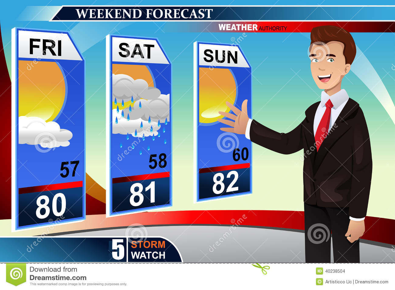 Weather news reporter Stock  Weatherman Clipart