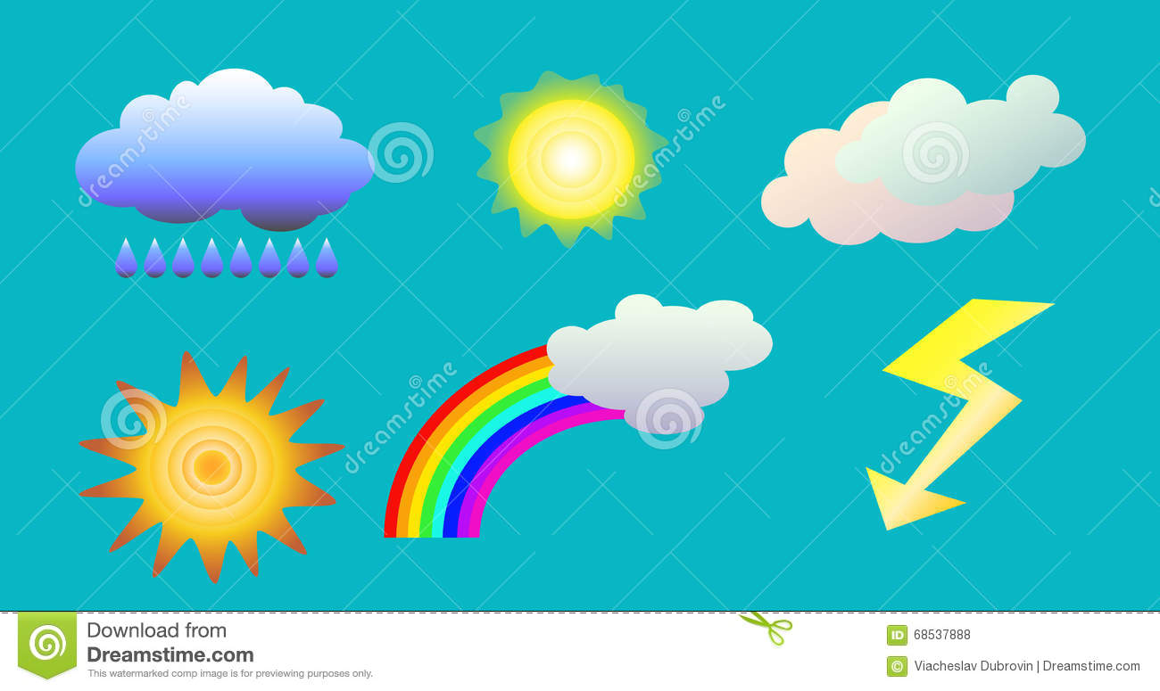 weather objects clip art illustration of clouds sun rainbow