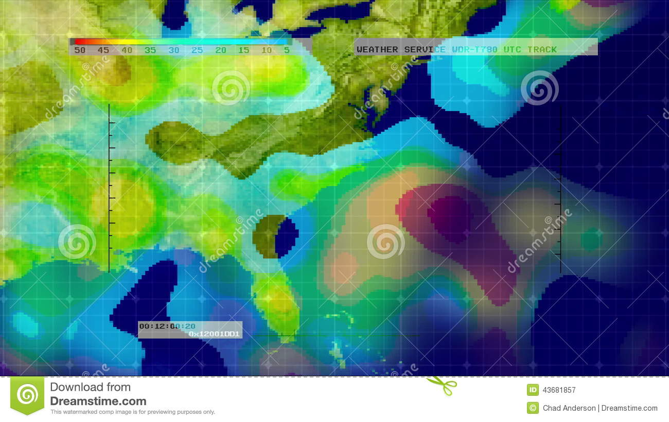 Weather Radar Digital Satellite Map Midwest Southeast US Stock