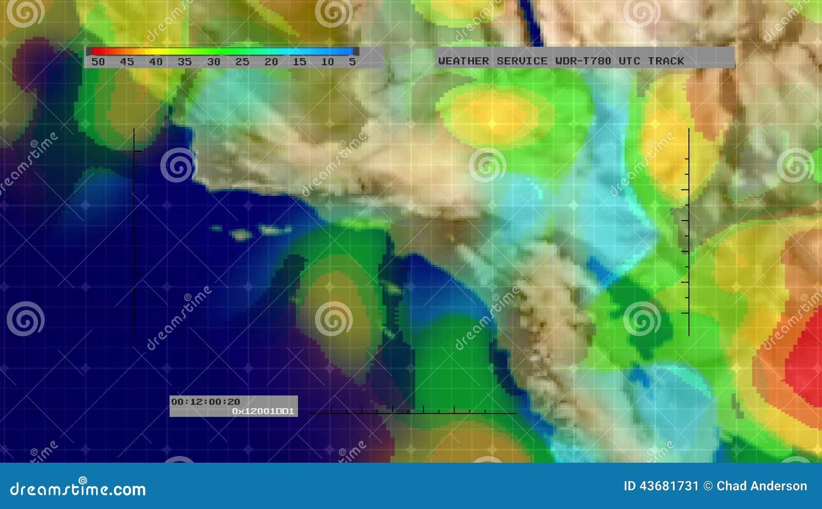 Weather Radar Digital Satellite Map S California Stock Video - Digital satellite map