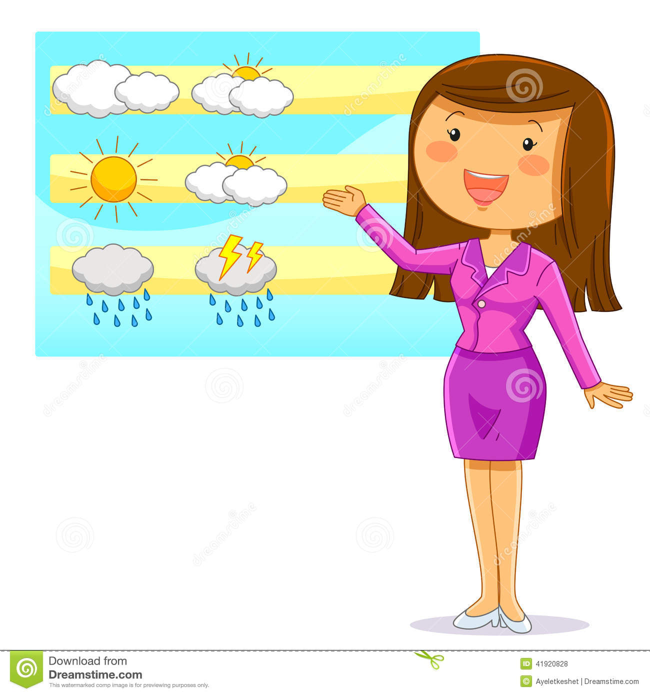 Female weather reporter presenting the weather forecast.