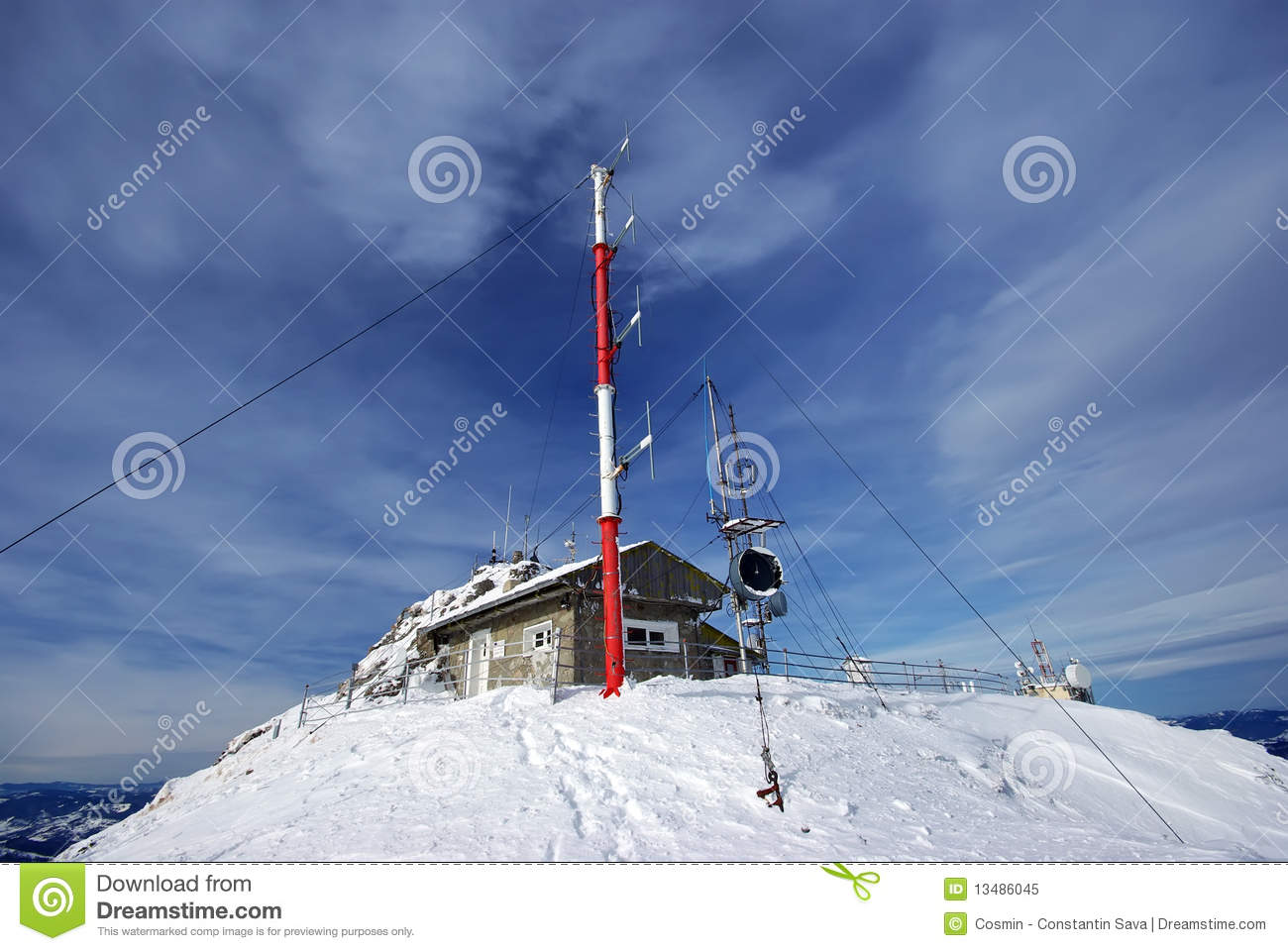 Weather Station On Mountain Top Stock Image Image Of