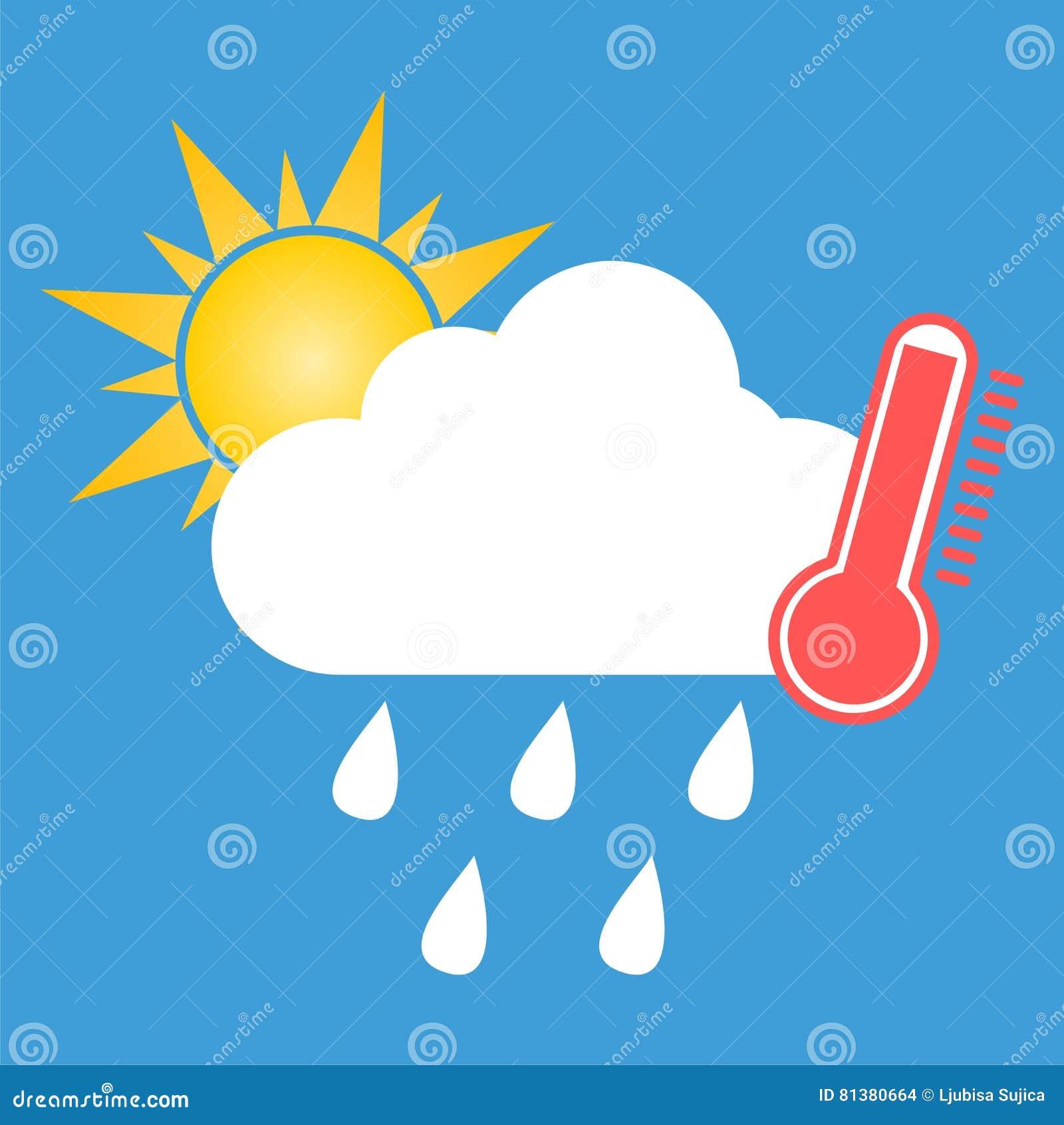 Weather Symbol Hot And Rain Stock Vector Illustration Of Rain